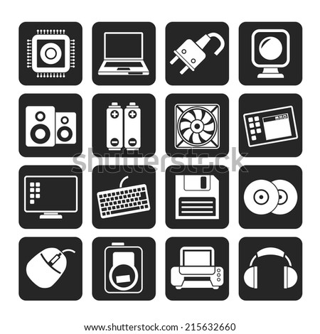 Silhouette Computer Items and Accessories icons - vector icon set - stock vector