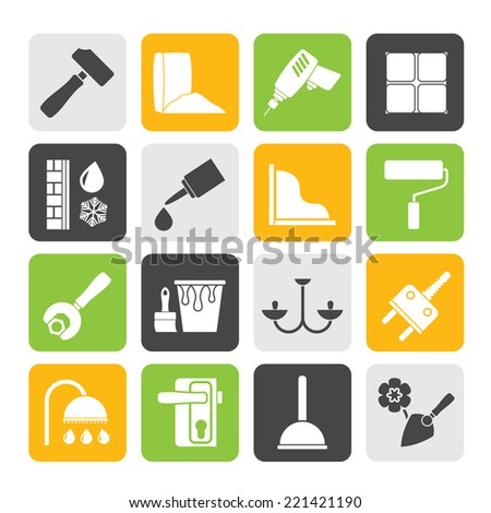 Silhouette Construction and building equipment Icons - vector icon set 1 - stock vector