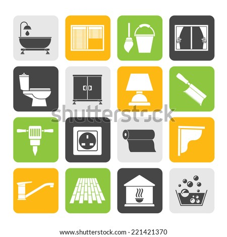 Silhouette Construction and building equipment Icons - vector icon set 2 - stock vector