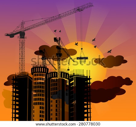 Silhouette construction building with sunset background-vector - stock vector