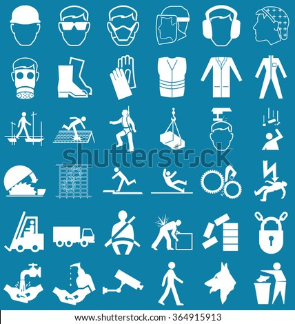 Silhouette construction manufacturing and engineering health and safety related graphics set isolated on blue background