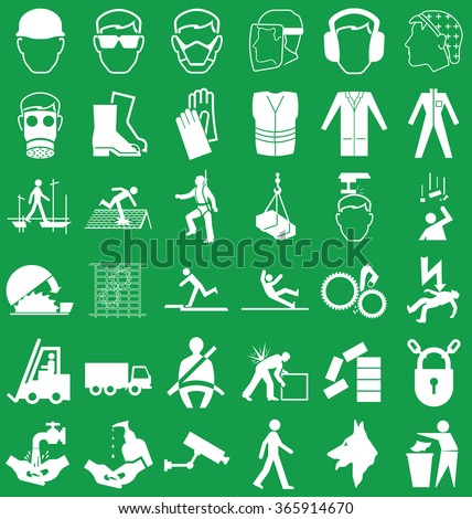 Silhouette construction manufacturing and engineering health and safety related graphics set isolated on green background - stock vector
