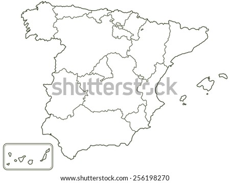 Silhouette contour border map of the Spain. All objects are independent and fully editable  - stock vector