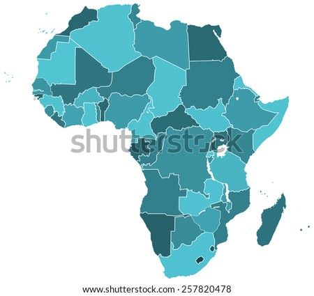 Silhouette contour map of the Africa. All objects are independent and fully editable