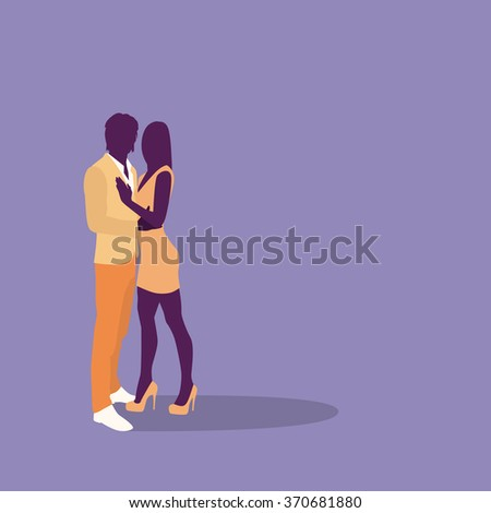 Silhouette Couple Colorful Fashion Dress Lovers Embrace With Copy Space Flat Vector Illustration - stock vector
