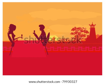 silhouette couple on tropical beach - stock vector