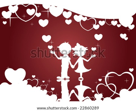 Silhouette Couple surrounded with hearts