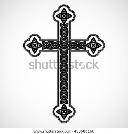 silhouette cross with celtic ornaments / vector illustration