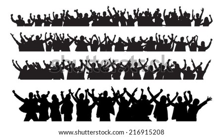 Silhouette crowd raising hands during concert over white background. Vector image