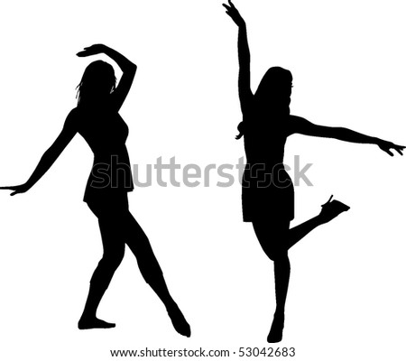 Silhouette dance girls