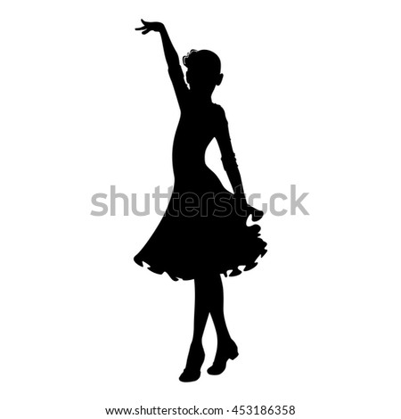 silhouette dancing children on white background vector - stock vector
