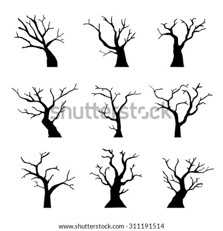 Silhouette Dead Tree without Leaves Set - stock vector