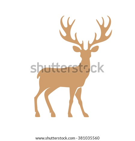 Silhouette deer with great antler animal vector illustration. - stock vector