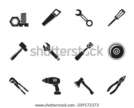 Silhouette different kind of tools icons - vector icon set
