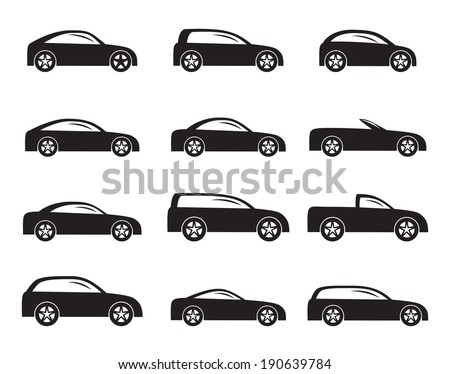 Silhouette different types of cars icons - Vector icon set