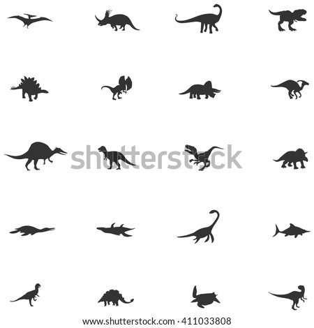 Silhouette dinosaur and prehistoric reptile animal icon collection set, create by vector - stock vector