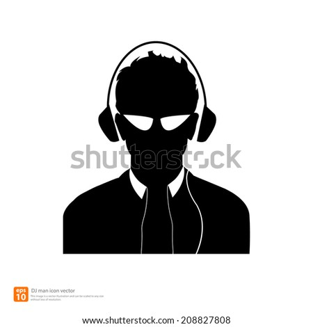 Silhouette  DJ man avatar profile pictures  - stock vector