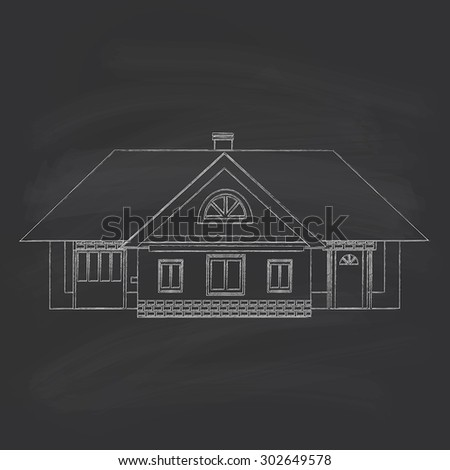 Silhouette drawing of a country house. Chalk on a blackboard. - stock vector