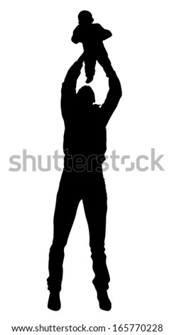 Silhouette drawing parents and child on a white background. Father holding his child. Grandfather and grandson. Vector EPS 10 illustration. - stock vector