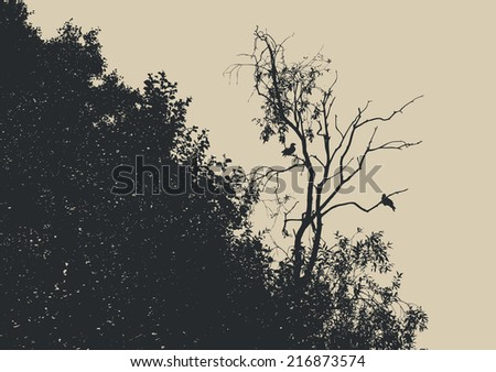 silhouette dry tree with two crows. vector illustration - stock vector