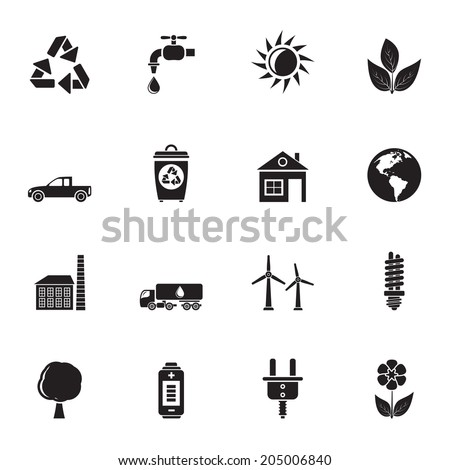 Silhouette ecology and environment icons - vector icon set