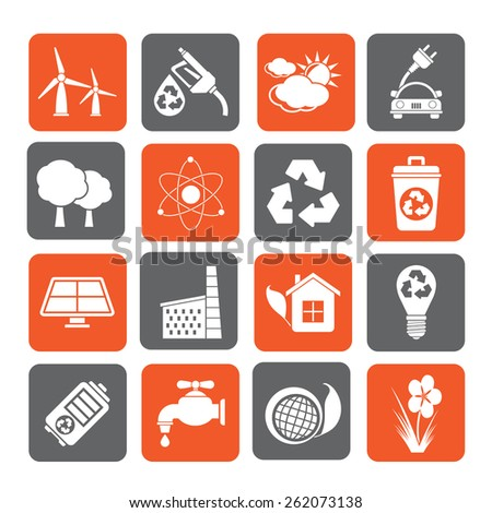 Silhouette Ecology, environment and recycling icons - stock vector