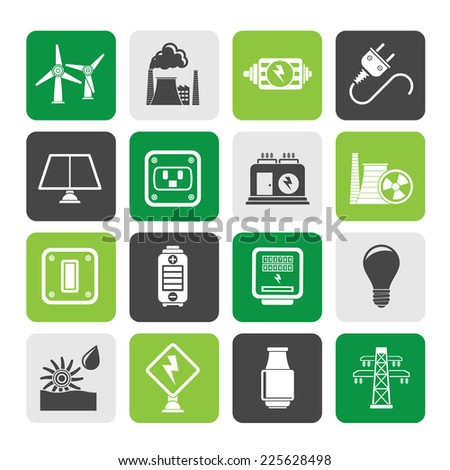 Silhouette electricity, power and energy icons - vector icon set