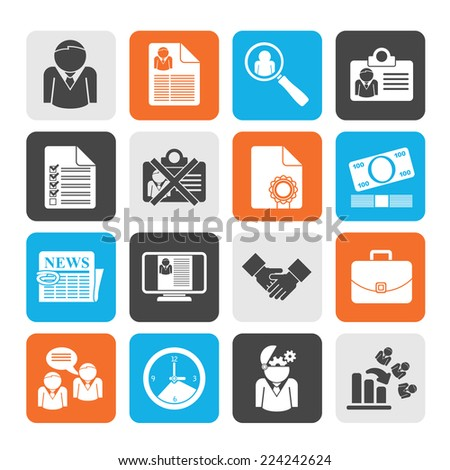 Silhouette Employment and jobs icons - vector icon set - stock vector