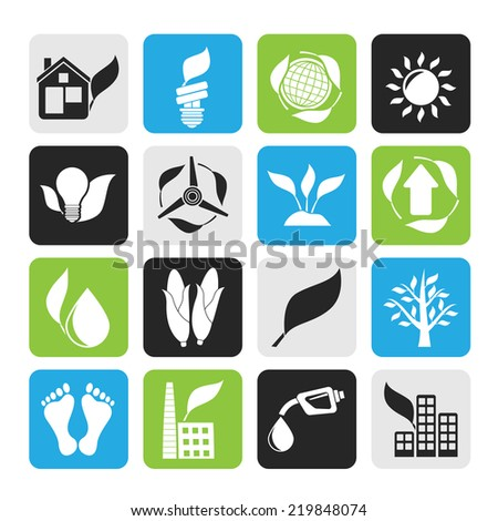 Silhouette environment and nature icons - vector icon set - stock vector