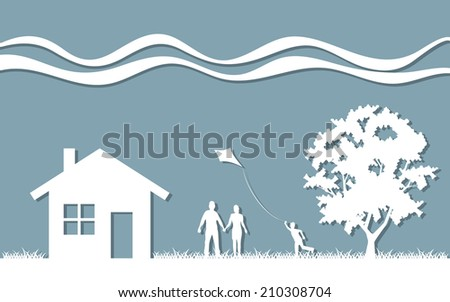 Silhouette family house and tree - stock vector
