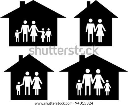 Silhouette family icon and house. Conceptual vector illustration - stock vector