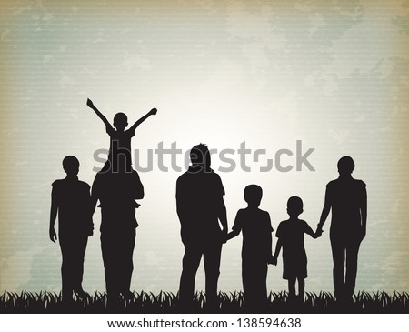 silhouette family over vintage background vector illustration - stock vector