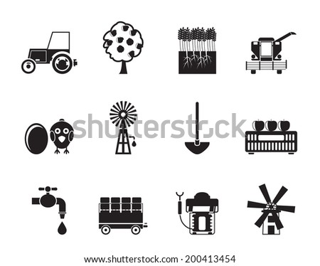 Silhouette farming industry and farming tools icons - vector icon set - stock vector