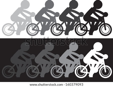 Silhouette figure riding bike with fading motion