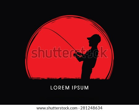 Silhouette, Fishing , on sunset or sunrise  grunge brush background, graphic vector.