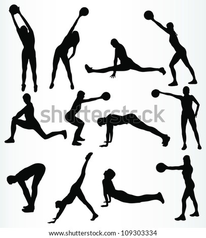 silhouette fitness girl vector - stock vector