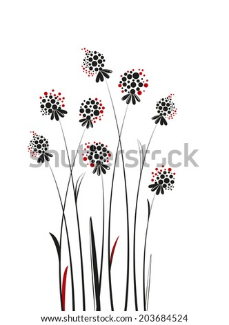 silhouette flowers on a white background