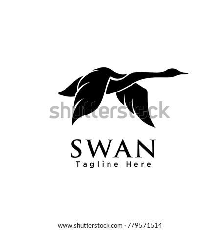 silhouette flying swan art logo