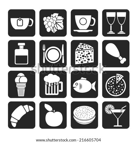 Silhouette Food, Drink and beverage icons - vector icon set - stock vector