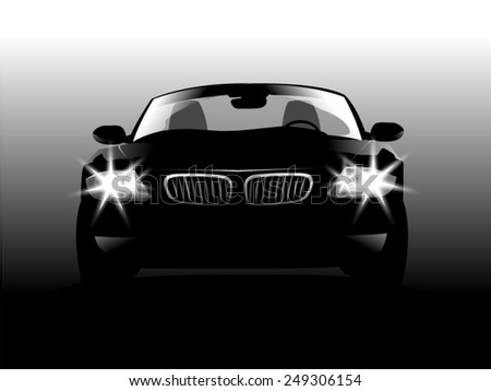 Silhouette front car. Vector illustration - stock vector