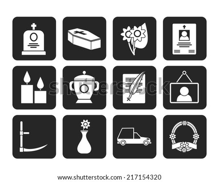 Silhouette funeral and burial icons - vector icon set - stock vector
