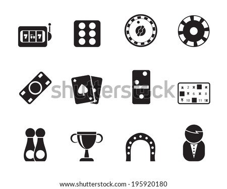 Silhouette gambling and casino Icons - vector icon set - stock vector