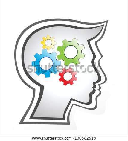 silhouette gear head isolated over white background. vector - stock vector