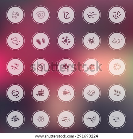 Silhouette germ and pathogen for human disease such as virus, bacteria, fungus, amoeba, and Protozoa icon collection set with glossy colorful abstract background, create by vector  - stock vector