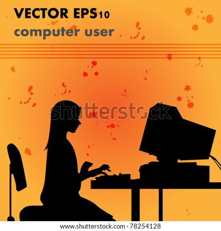 Silhouette girl at computer - vector. - stock vector