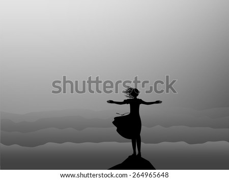 silhouette girl standing on the edge of the cliff an looking at the storm sea, shadows, windy dreams - stock vector
