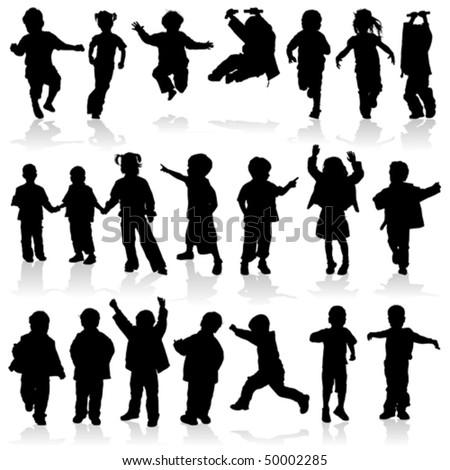 Silhouette girls and boys, element for design, vector illustration - stock vector