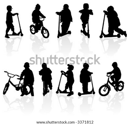 Silhouette girls and boys with bicycle, illustration