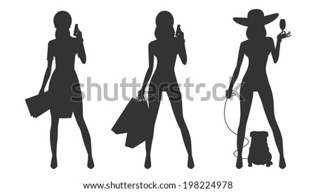 Silhouette glamor business woman shopping - stock vector