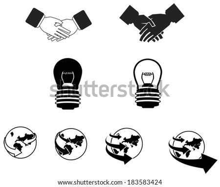 Silhouette global business and contraction icon collection set, create by vector  - stock vector